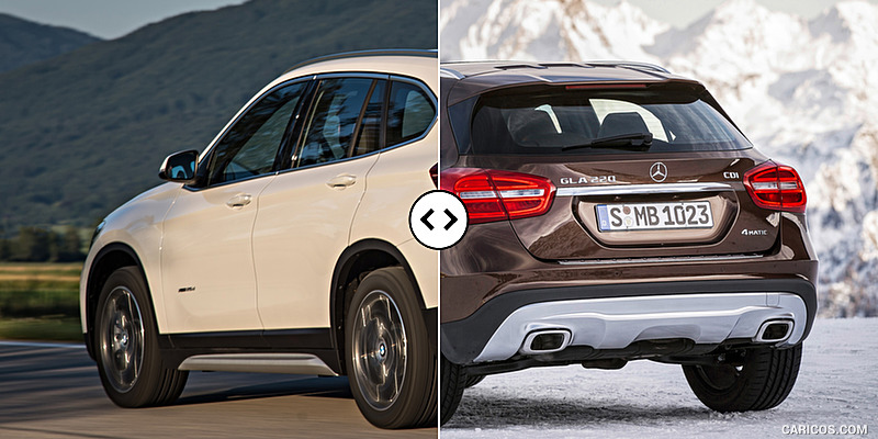 bmw x1 vs mercedes gla rear three quarter comparison 4. Black Bedroom Furniture Sets. Home Design Ideas