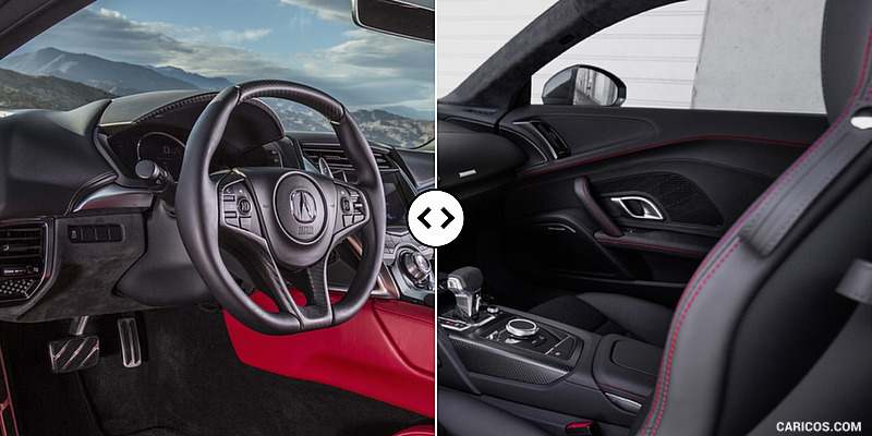 acura nsx vs audi r8 interior comparison 5. Black Bedroom Furniture Sets. Home Design Ideas