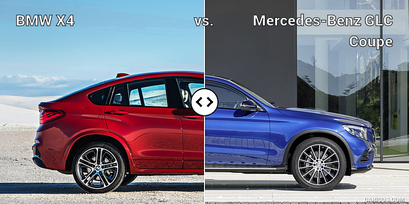 BMW X4 vs. Mercedes-Benz GLC Coupe : Side
