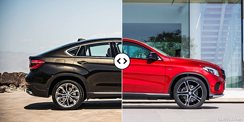 Bmw X6 Vs Mercedes Gle Coupe Side Comparison 3