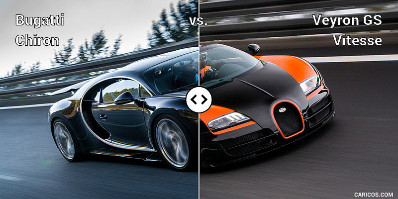 Bugatti Chiron vs. Veyron GS Vitesse : Front Three Quarter