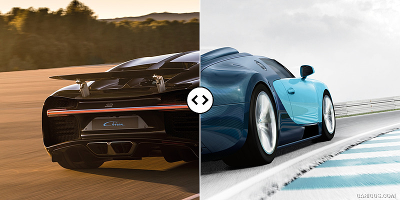 Bugatti Chiron vs. Veyron GS Vitesse : Rear Three Quarter