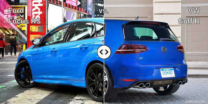 Ford Focus RS vs. VW Golf R : Rear Three Quarter